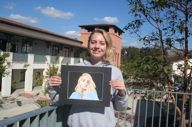 Heidi Gallagher, 14, Pioneer Middle School, grade 8, created an abstract self portrait that will be on display next week as part of theStudent Art Invitational, sponsored by the Tustin Area Council for Fine Arts.(Photo courtesy of Betty Carle)