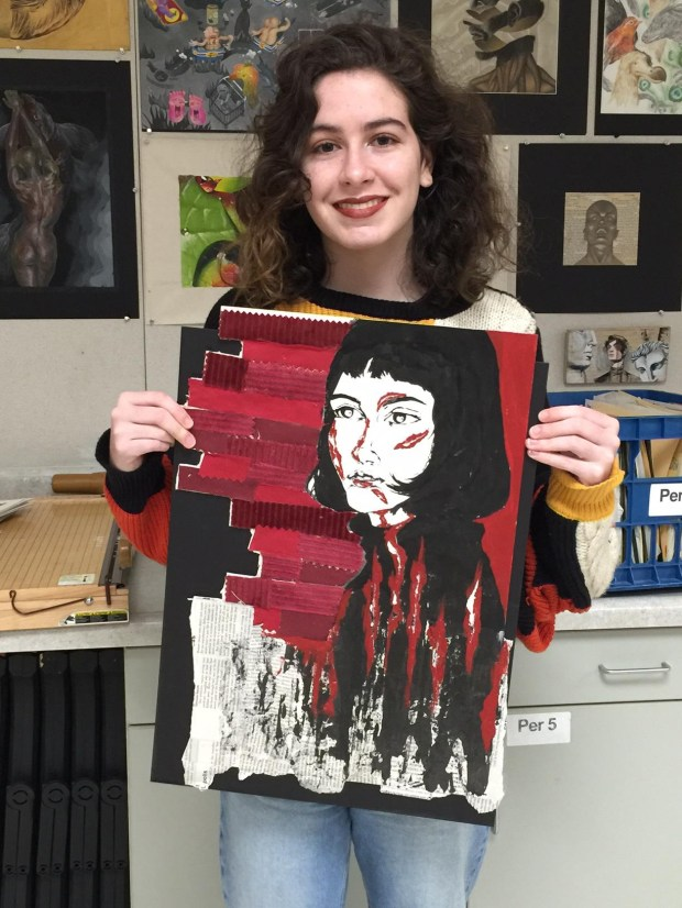 Shira Silver, 15, Beckman High, grade 11, used only red, white and black for her portrait of a mythological queen, which will will be on display next week as part of the Student Art Invitational, sponsored by the Tustin Area Council for Fine Arts. (Photo courtesy of Betty Carle)