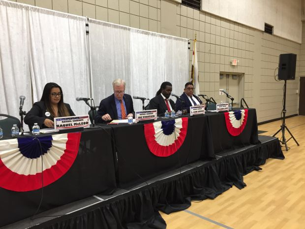 The four Whittier mayoral candidates discussed mostly business issues at a forum on March 6, 2018, held by the Whittier Area Chamber of Commerce. Staff photo by Mike Sprague/Whittier Daily News