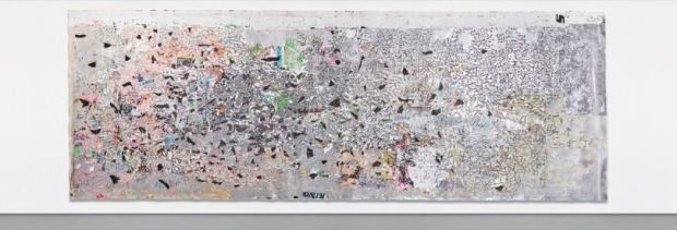 """Tennis great John McEnroe has sold """"Helter Skelter I,"""" a 2007 painting by artist Mark Bradford for $10.4 million at auction. The 34-foot-wide painting was inspired by serial killer Charles Manson. (Courtesy photo)"""