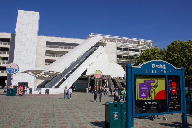 Many visitors to the Disneyland Resort end up parking in the Mickey and Friends parking structure, which can park nearly 10,000 cars. From here, visitors can take a tram that will drop them off near the entrance to the resort's theme parks, Disneyland and Disney California Adventure, though some guests prefer to walk. (File photo by Mark Eades, Orange County Register/SCNG)