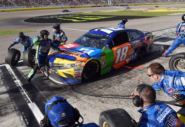 Kyle Busch (18) makes a pit stop during the NASCAR Cup Series Pennzoil 400 March 4, 2018, at Las Vegas Motor Speedway in Las Vegas, Nevada. Busch has finished second to Kevin Harvick in each of the last two races this season. (Photo by, Will Lester-Inland Valley Daily Bulletin/SCNG)