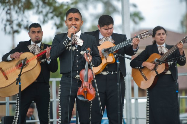 Mariachi Nuevo Capistrano performs on stage in Max Berg Plaza Park in San Clemente during the city's annual Cinco de Mayo celebration on Saturday, May 6, 2017.Photo By Jeff Antenore, Contributing Photographer