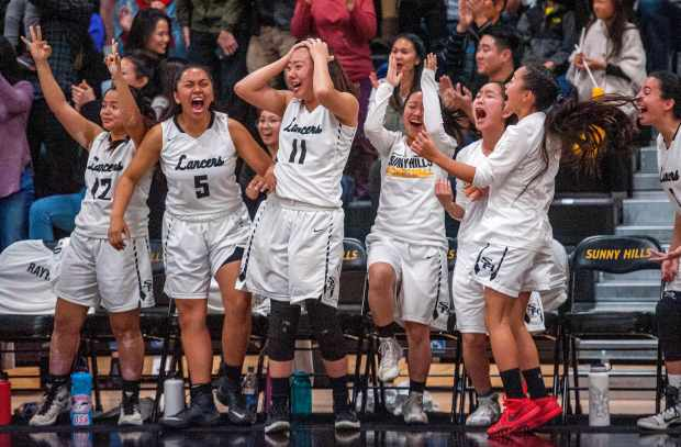 Sunny Hills players react as their teammates score another basket to keep the score close late in the fourth period during the CIF Southern California Division III Regional playoff in Fullerton on Saturday, March 17, 2018. (Photo by Paul Rodriguez, Contributing Photographer)