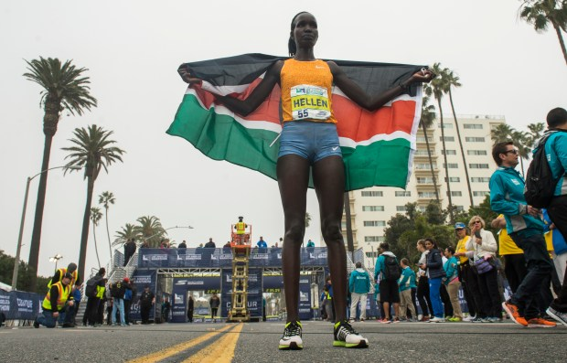 Hellen Jepkurgat, of  Kenya, wins the women's L.A. Marathon as more than 24,000 runners take part in the marathon starting at Dodger Stadium to Santa Monica along Ocean Avenue in Santa Monica Sunday, March 19, 2017.  (Photo by Thomas R. Cordova, Daily News/SCNG)