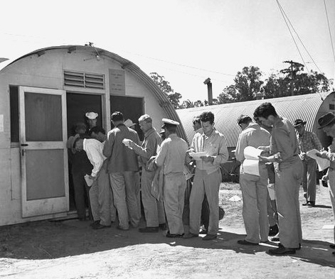 Veterans line up at the War Asset Administration area at Port Hueneme to purchase surplus Quonset huts on April 15, 1946. Photo by Los Angeles Daily News