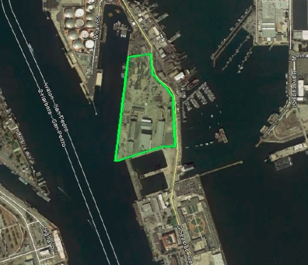 """The 18-acre site on Terminal Island eyed by SpaceX for a manufacturing facility to build """"commercial transportation vessels."""" Image via the Port of Los Angeles."""