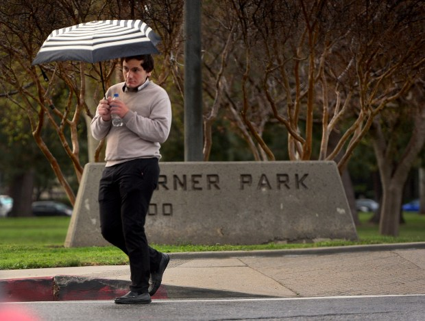 A pedestrian keeps a close eye on traffic as light rain fell in Warner Park in Woodland Hills on Wednesday, March 21, 2018. (Photo by Dean Musgrove, Los Angeles Daily News/SCNG)