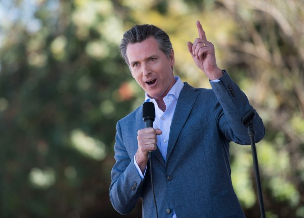 California Lt. Governor and gubernatorial candidate Gavin Newsom speaks during the March for Our Lives rally at Centennial Regional Park in Santa Ana on Saturday, March 24, 2018. (Photo by Kevin Sullivan/Orange County Register/SCNG)
