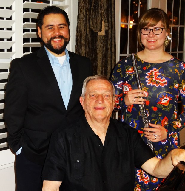 From left, tenor Julio Batta, pianist Ed Yarnelle and flutist Victoria Batta performed at the March 20 Spinet meeting in Redlands. (Courtesy Photo)