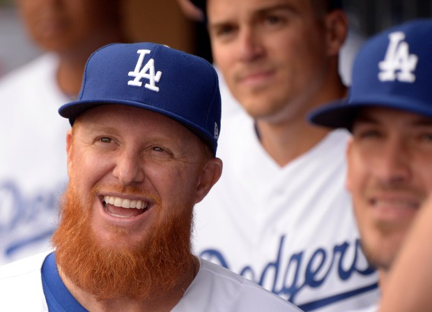 Los Angeles Dodgers' Justin Turner during the National League Championship ring ceremony prior to a Major League Baseball game against the San Francisco Giants at Dodger Stadium on Saturday, March 31, 2018 in Los Angeles. (Photo by Keith Birmingham, Pasadena Star-News/SCNG)