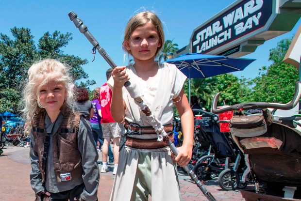 Girls dress up to celebrate May the Fourth 2017 at Disneyland. Photo by Jeff Grichen OC Register