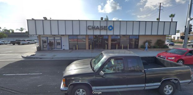 An auto-theft suspect crashed into this Chase bank branch late Tuesday, March 13, 2018, at 555 N. Euclid St. in Anaheim after a short pursuit. Before that, he crashed into parked vehicles at Lincoln Avenue and Loara Street. (Google Street View)