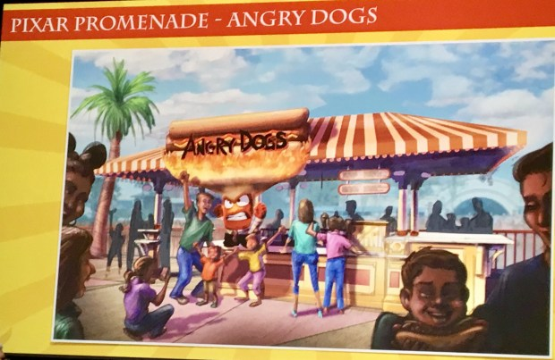 Angry Dogs quick service restaurant, to be located on the Pixar Promenade. Artist rendering provided by Walt Disney Imagineering of the upcoming changes to the new Pixar Pier development at Disney California Adventure in Anaheim, as of March 8, 2018. The pier is still under construction. Photo by Marla Jo Fisher, the Orange County Register, at Walt Disney Imagineering in Glendale, CA.