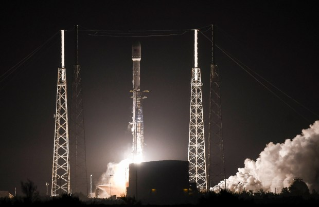 A SpaceX Falcon 9 rocket lifts off early Tuesday, March 6, 2018, from Cape Canaveral Air Force Station, Fla. The rocket is carrying the Hispasat 30W-6 communications satellite. (Craig Bailey/Florida Today via AP)