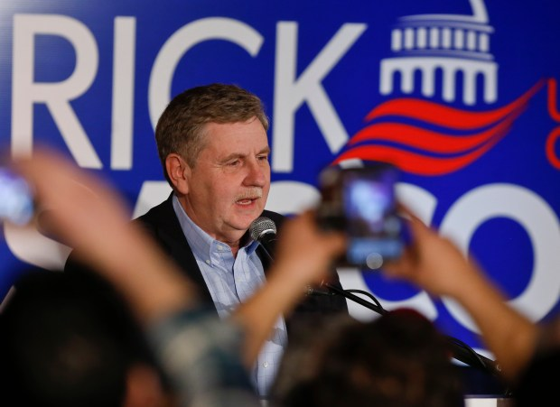 Republican Rick Saccone thanks supporters at the party watching the returns for a special election being held for the Pennsylvania 18th Congressional District vacated by Republican Tim Murphy, Tuesday, March 13, 2018, in McKeesport, Pa. (AP Photo/Keith Srakocic)