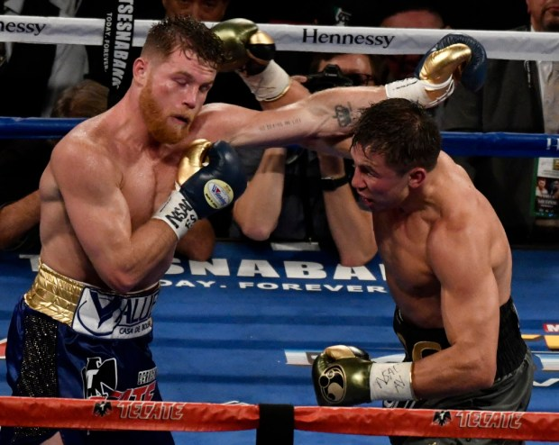 Sept 16,2017. Las Vegas, NV. (In gray trunks) GGG goes 12 rounds with Canelo Alvarez Saturday night at the T-Mobile arena.The judges score cards came back as a draw decision on the fight with GGG keeping his WBC,WBA,IBF,IBO ring middleweight titles belts.Photos by Gene Blevins/LA DailyNews/SCNG
