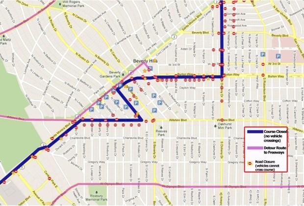 2018 LA Marathon street closures in Beverly