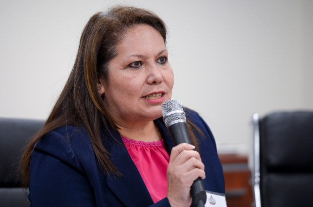 Patty Lopez, a candidate for Assembly District 39, speaks at a debate hosted by the Valley Industry & Commerce Association. (Photo by David Crane, Los Angeles Daily News/SCNG)