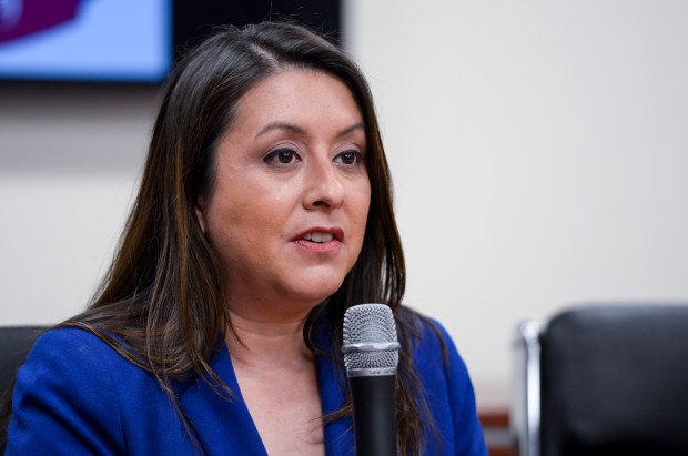 Luz Rivas, a candidate for Assembly District 39, speaks at a debate hosted by the Valley Industry & Commerce Association. (Photo by David Crane, Los Angeles Daily News/SCNG)
