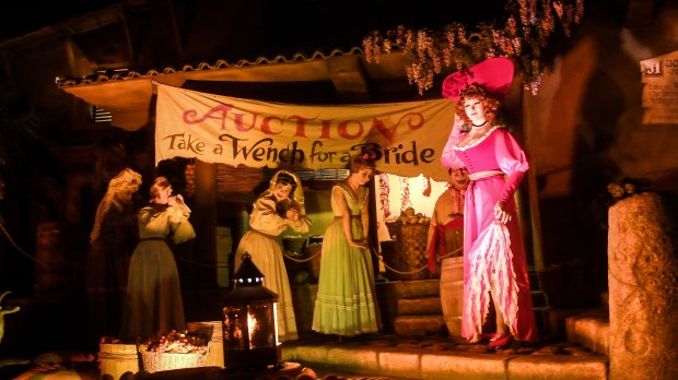 """Wench Auction"" scene at Pirates of the Caribbean at Disneyland in Anaheim on Tuesday, Mar 13, 2018. Disney is changing the 50-year old scene into a public auction of loot. (Photo by Jeff Gritchen, Orange County Register/SCNG)"