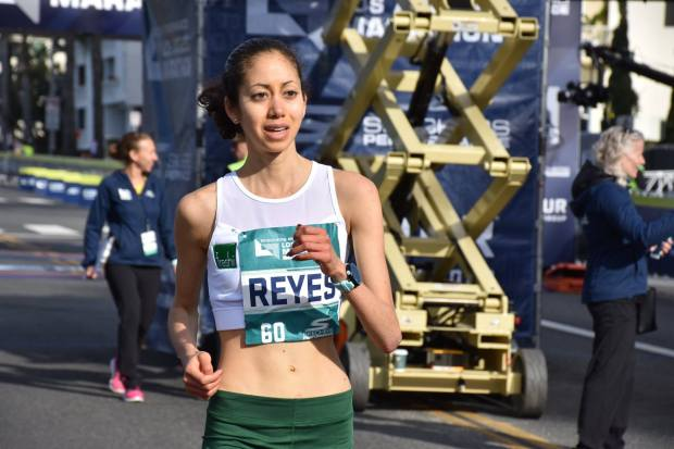 Joanna Reyes, a student at Loma Linda University School of Pharmacy, was the third American woman to finish the Los Angeles Marathon on Sunday, March 18, 2018. (Courtesy photo)