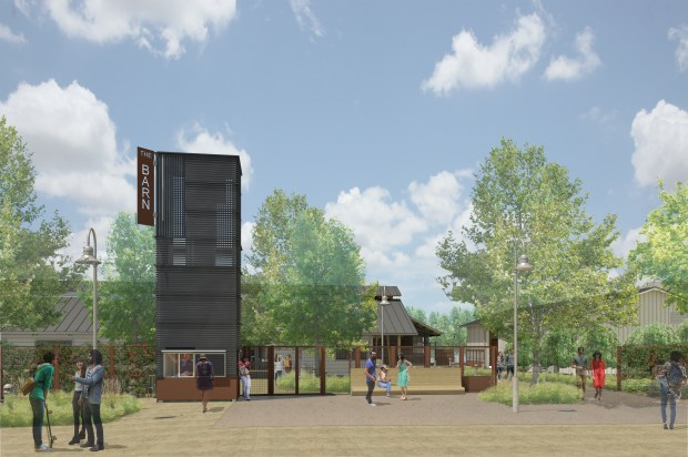 An artist's rendering of the proposed new 'ticket tower' with the remodeled Barn behind it. (Photo courtesy of UC Riverside)