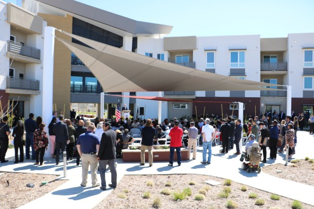 The March Veterans Village courtyard during the grand opening ceremony held on Thursday, March 29, 2018. (Photo courtesy of U.S. VETS)