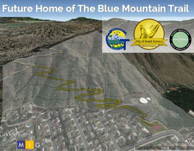 The City of Grand Terrace is proposing to put in a Blue Mountain trailhead and trail on the corner of Observation and Van Buren streets, if they receive $250,000 in grant funding. (Courtesy of city of Grand Terrace)