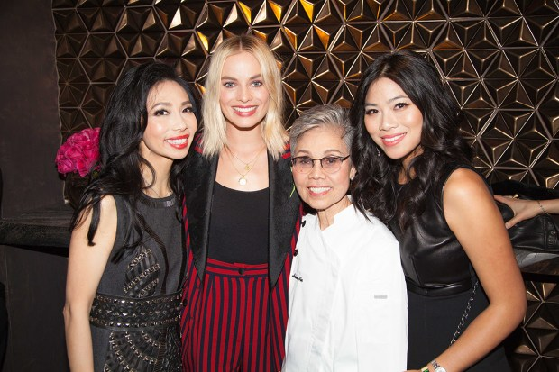 Elizabeth An with Margot Robbie, Executive Chef Helene An, and Catherine An at the 11th annual Women in Film pre-Oscar Party at Crustacean