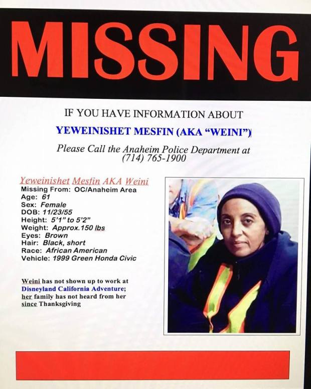 "This is the flier that friends and family posted when Yeweinishet ""Weini"" Mesfin, a night janitor at Disneyland Resort, went missing in late 2016. Mesfin was homeless and living out of her car, a secret she kept from family and coworkers. She died in her car and her body was not found for 20 days. (Courtesy of Mindy Martin)"