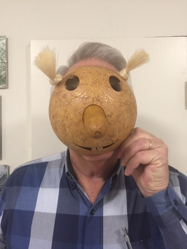 This whimsical mask of a clown made from a gourd -- purchased from an artist in Mexico -- will always remind the author of his mother-in-law. Courtesy photo