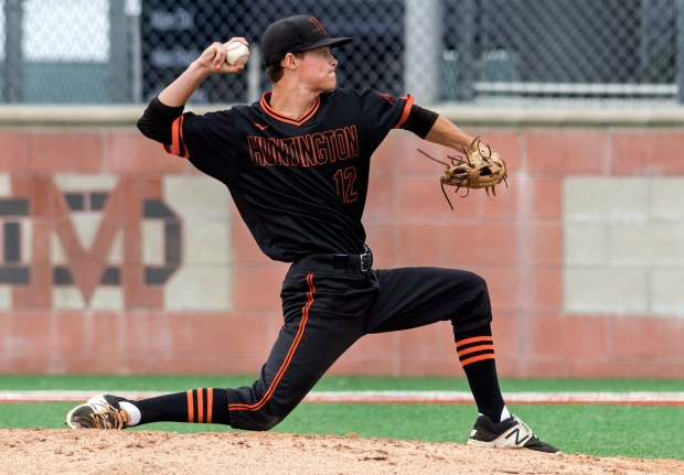 Huntington Beach relief pitcher Jordan Vance delivers a pitch during the game against South Hills at the Boras Classic in Santa Ana on Tuesday, April 3, 2018.(Photo by Mindy Schauer, Orange County Register/SCNG)