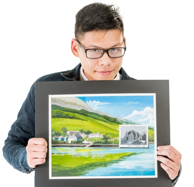 Khang Do of Fountain Valley High School is a 2D visual arts semifinalist in the specialty of hand drawing and painting. (Photo by Leonard Ortiz/Orange County Register/SCNG)