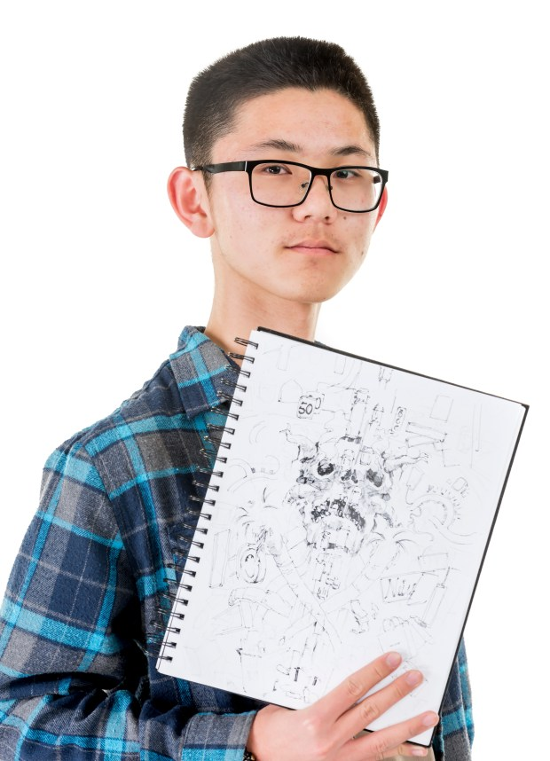 Tyler Wu of Orange County School of the Arts is a 2D visual arts semi-finalist in the specialty of computer drawing and painting. (Photo by Leonard Ortiz/Orange County Register/SCNG)