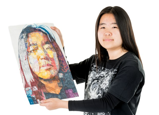 Xiran Yang of Aliso Niguel High School is a 2D visual arts semi-finalist in the specialty of hand drawing and painting. (Photo by Leonard Ortiz/Orange County Register/SCNG)