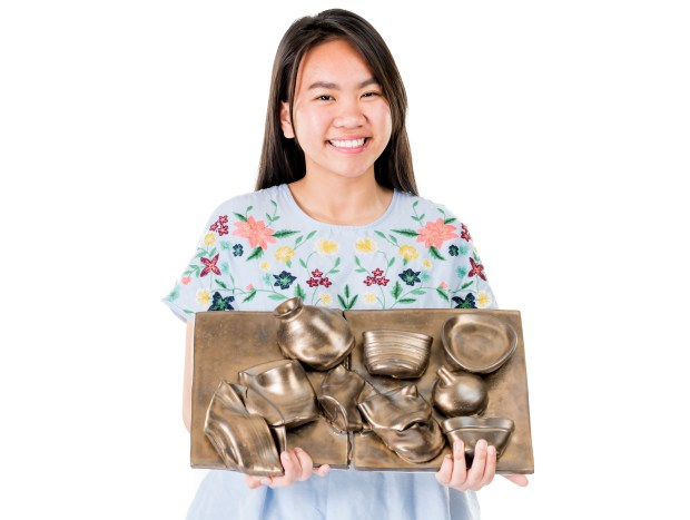 Jane Huynh of Mater Dei High School is a 3D visual arts semi-finalist in the specialty of ceramics. (Photo by Leonard Ortiz/Orange County Register/SCNG)