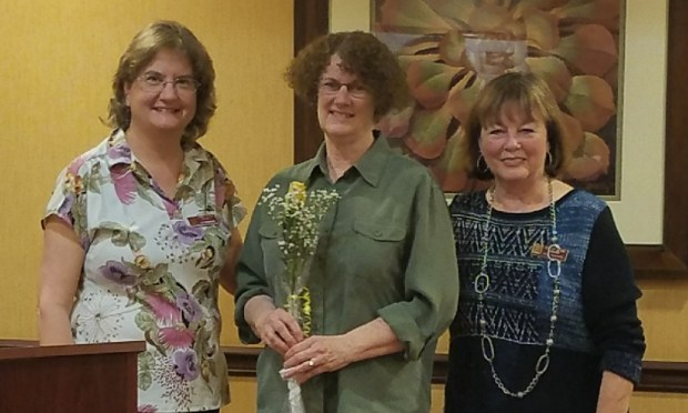 Cerise Jennings-Skeen, center, a new member of the Zonta Club of Redlands, with Zonta Club members Jill Robinson, left, and Beth Allevato, right. (Courtesy Photo)