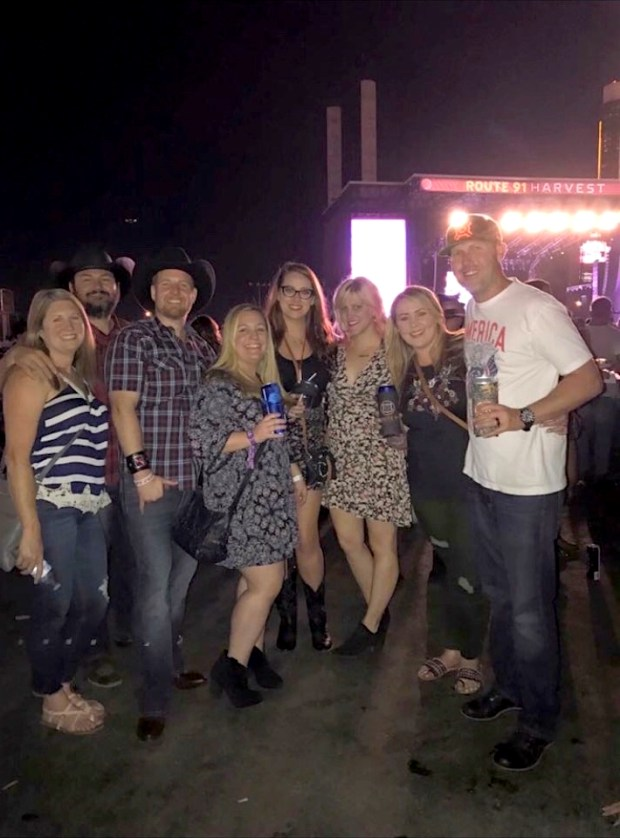 Laguna Niguel residents Jimmy and Brittany Lessard pose with friends before the Route 91 Harvest Festival in Las Vegas on Oct. 1, 2017. (Courtesy of the Lessards)