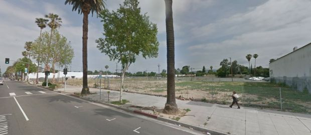 These are the properties at 18128 and 18210 Sherman Way where the city of Los Angeles plans to develop an ice skating and roller hockey facility. (Google Street View)