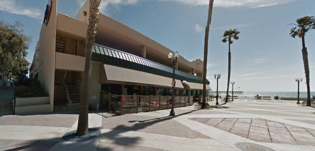 Homeless man Jamal Jackson, 49, has been charged in the stabbing death of Anthony Mele, 35, at the Aloha Steakhouse on the shore in Ventura. Mele was stabbed in the neck while having dinner with his wife and 5-year-old daughter, who was in his lap when he was attacked. (Google Street View)