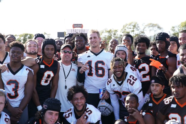 Jared Goff poses with the Ventura College football team after his prank April 9 in Ventura. (Photo courtesy of Red Bull)