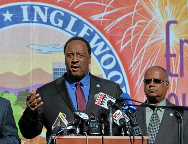 Inglewood Mayor James T. Butts talks about the NFL stadium project at the former Hollywood Park site during a press conference at City Hall in 2015. Photo by Robert Casillas / Daily Breeze