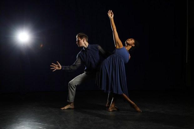 Chandler Davids and Gabriella Bridgmon perform in Cal State Fullerton's Spring Dance Theatre. (Photo by Jordan Kubat Photography)