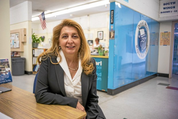 LAUSD interim superintendent Vivian Ekchian is among the candidates for the permanent position heading the school district. She is seen above in July 2015 at Daniel Pearl Magnet High School in the Lake Balboa area. (File photo by David Crane/Los Angeles Daily News)