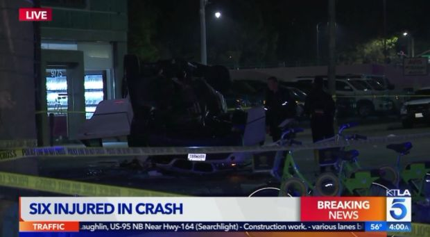 Six women were in an SUV that crashed early Friday, April 27, 2018, in the area of Little Santa Monica and Wilshire boulevards in Beverly Hills. All six were transported to the hospital, where two died. The driver has been arrested on suspicion of DUI. (Image from KTLA5 video)