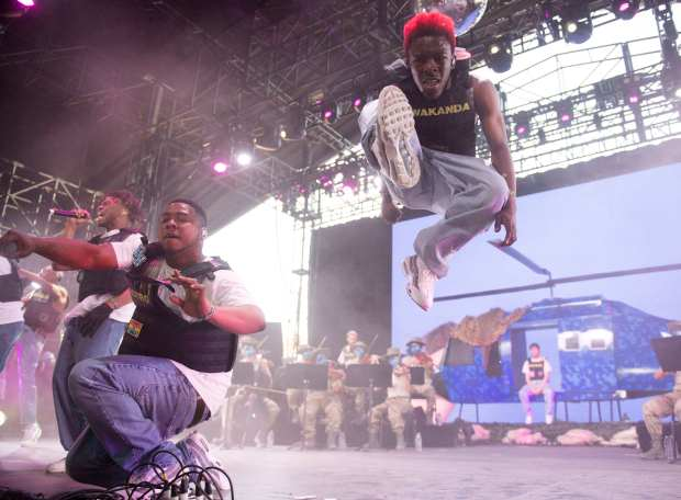 Brockhampton performs during the Coachella Valley Music and Arts Festival at the Empire Polo Club in Indio on Saturday, April 14, 2018. The rap group will headline Agenda Festival in Long Beach June 30. (Photo by Kevin Sullivan, Orange County Register/SCNG)
