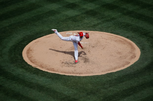 Los Angeles Angels starting pitcher Shohei Ohtani, of Japan, throws against the Oakland Athletics during the third inning of a baseball game, Sunday, April 8, 2018, in Anaheim, Calif. (AP Photo/Jae C. Hong)