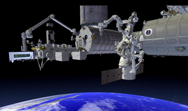 "A simulation of how the ECOSTRESS device will be installed on the International Space Station's Japanese Experiment Module - External Facility sometime in June. The ""space botanits"" will take advantage of the space station's orbit to measure plant surface temperatures at different times of day, allowing scientists to see how plants respond to water stress throughout the day. (photo by NASA)"