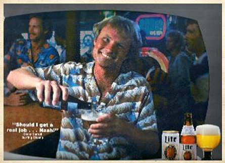 Corky Carroll in a Miller Lite commercial in the 1980's. (Courtesy Corky Carroll)